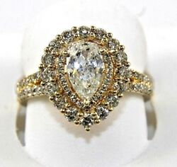 Natural Pear Shape Diamond Solitaire Ladyand039s Ring 14k Yellow Gold 1.73ct