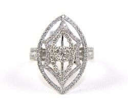 Marquise Shape Diamond Round Cluster Ladyand039s Ring 18k White Gold 1.35ct