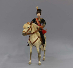 Antique Imperial Japanese Army Doll Handsome Lieutenant Riding Horse Meiji
