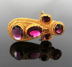 Antique Art Nouveau 12.50ct Amethyst 20k Yellow Gold Decorated Clip Pin