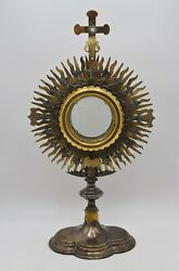 100 Year Old Antique Hand Made Church Monstrance 20 Ht No Luna Cu844 Reliquary