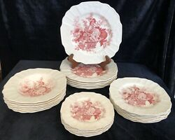 """26-pc Myott, Son And Co """"plymouth """" Pink Floral Basket China Made In England"""