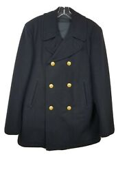 Vintage Us Navy Military Mens Wool Peacoat Pea Coat Sz 40r Gold Buttons 1960s