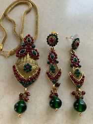 VINTAGE COPPER WITH KUNDAN STONE DESIGNER NECKLACE AND EARRINGS GREEN RED