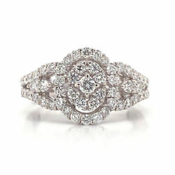 1.08 Cttw Round Cut Diamond Oval Cluster Halo Engagement Ring 18k White Gold
