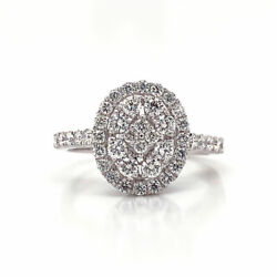 0.91 Cttw Round Cut Diamond Oval Cluster Halo Engagement Ring 18k White Gold
