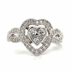 0.75 Cttw Round Cut Diamond Heart Cluster Halo Engagement Ring 18k White Gold