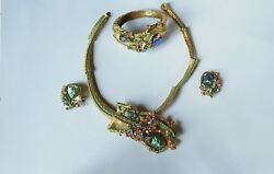 Rare HAR Dragon Full Parure Necklace Bracelet Earrings Near Mint 1950s