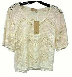 120 Language Lace Short Sleeve Top Nwt Size L Bell Short Sleeve Sheer Usa Made
