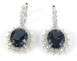 Oval London Blue Topaz And Diamond Drop Snap Earrings 14k White Gold 19.78ct