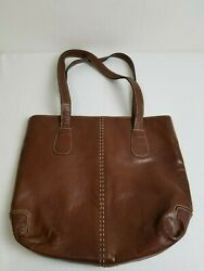 CHICO#x27;S Purse Brown Leather Hobo Double Strap Snap Closure Large Pre owned $16.00