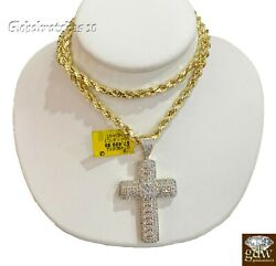 Real Diamond Cross With Solid 10k Rope Chain 20 22 24 26 28 Inch, Vs Full Cut