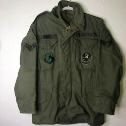 Vintage 70s Usaf Air Force Squadron Vietnam M59 Field Jacket Small W/ Patches