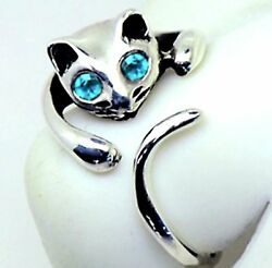 """""""NEW"""" Adorable Cat Ring - BLUE Crystal Eyes – Adjustable - FREE Gift Box"""