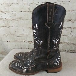 Roper Womens Brown Silver Inlay Design Leather Western  Cowgirl Boots Size 7