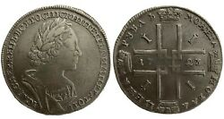 Russia 1 Rouble Ruble 1723 Peter The Great Large Silver Vf+ Peter I 1699-1725r