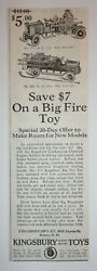 1930 Kingsbury Fire Engine Motor Driven Toy Advertisement