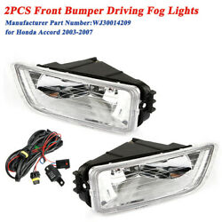 2pcs Front Bumper Driving Fog Lights Lamp Andwiring Switch For Honda Accord 03-07