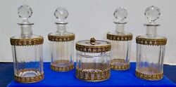 Vintage Early 1900and039s Cologne Bottles And Powder Jar