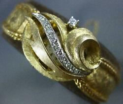 Antique .20ct Old Mine Diamond 14k White And Yellow Gold Floral Geneva Watch 20376