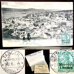 Rare 1914 German Postcard From German Post Office Morocco With Two Post Strikes