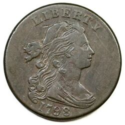 1798 S-186 R-2 2nd Hair, Sm 8 Draped Bust Large Cent Coin 1c