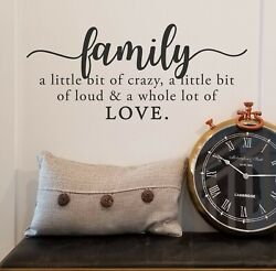 FAMILY CRAZY LOUD LOVE Vinyl Wall Decal Quote Sticker Decor Words Lettering Sign