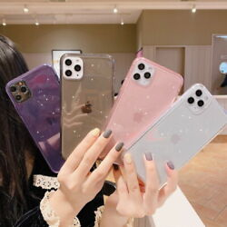 Glitter Flash Powder Case Clear TPU Soft Cover For iPhone 11 Pro Max XS XR X 8 7