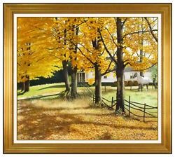 William E Baldwin Large Oil Painting On Board Fall Landscape Signed Framed Art
