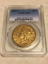 1859-s Xf45 Pcgs Liberty Double Eagle Type 1 20 Gold Coin Nicely Struck
