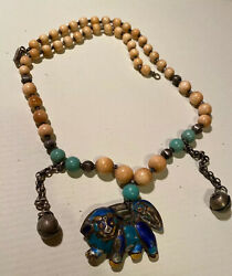 Antique Vintage Deco Sterling Silver Chinese Painted Enamel Foo Dog Necklace