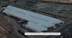 2 Giant Vinyl Fabric Structures 130' x 1257' & 130' x 1110' TOTAL 310000 sq ft