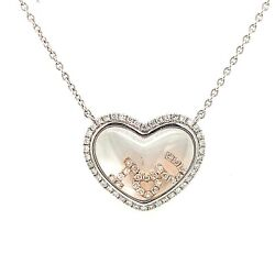 18k Rose And White Gold Two-toned Diamond I Love You Inside Glass Heart Necklace