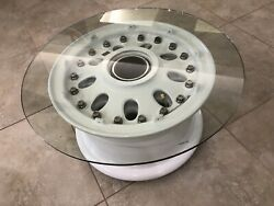 Boeing 737 Spinning Wheel Coffee Table, Polished Bolts Avition Decor