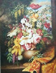 Master Quality Hand Painted Art, Oil On Canvas 36x48 Floral Still Life