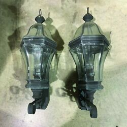 Two Traditional Outside Leaded Copper Porch Lanterns 12 X 32