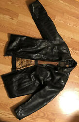 Marc New York First Class Bomber Aviator Moto Racer Black Leather Jacket L