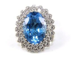 Natural Oval Swiss Blue Topaz And Diamond Solitaire Ring 14k White Gold 14.78ct