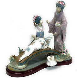 Lladro 1445 'springtime In Japan' With Wood Base