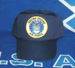 US Air Force Old Eagle Style Logo Emblematic High Crown Blue Military Ball Cap.