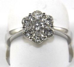 Natural Round Diamond Cluster 7 Stone Ladyand039s Ring 14k White Gold 1.06ct