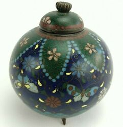 19th Century Japanese Cloisonne Tea Caddy Ginger Jar Bronze Footed Bowl Mini 3