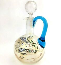 Antique Glass Decanter Hand Enamaled Floral And Gold Embellishments Blue Handle
