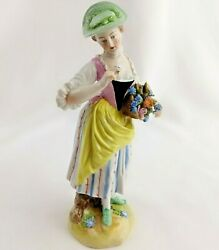 Rare Antique Ludwigsburg Porcelain Girl Figurine Double C's Germany 1700's