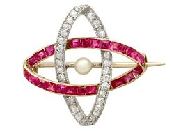 Antique Pearl And 0.55 Ct Ruby 0.30 Ct Diamond And 12k Yellow Gold Brooch 1910s