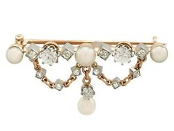 Antique Victorian 0.96 Ct Diamond And Pearl 18k Yellow Gold Brooch Circa 1880