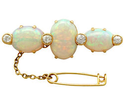 Antique Victorian 8.74 Ct Opal And 0.96 Ct Diamond 18k Yellow Gold Brooch 1890