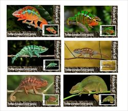2020 PANTHER CHAMELEON 6 SOUVENIR SHEETS UNPERFORATED WILD ANIMALS REPTILES