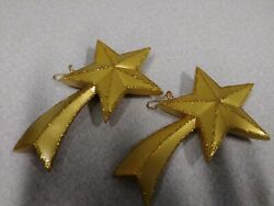 Gold and Glittery Shooting Star Ceramic Ornaments Handcrafted Set of 2