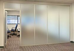 Cgp Office Partitions, Frosted Glass Aluminum Wall 9'x9' W/door, Clear Anodized